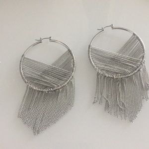 Bebe Silver Dangle Earrings hoop-like